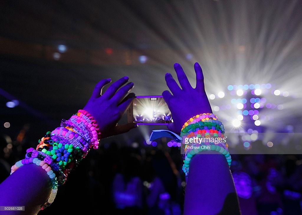 Kandi bracelets worn by ravers