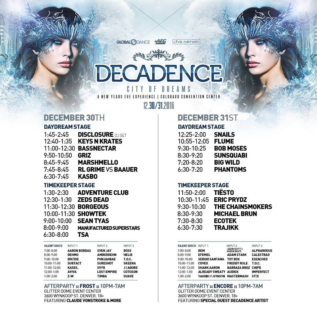 Decadence Set Times 2017