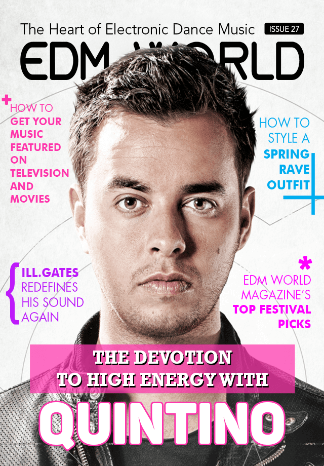 Quintino Issue 27 of EDM World Magazine Cover