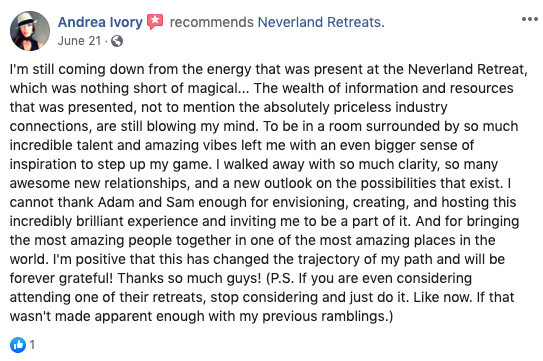 Neverland Retreats Review Andrea Ivory