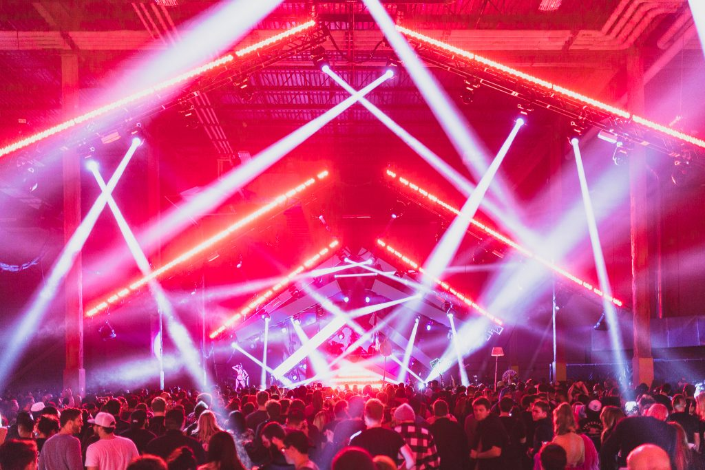 Dance Hall, Music blasting, Light show